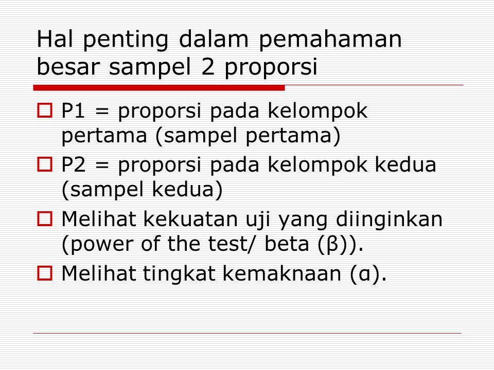 Hal penting dalam pemahaman besar sampel 2 proporsi  P1 = proporsi pada kelompok pertama (sampel pertama)  P2 = proporsi pada kelompok kedua (sampel