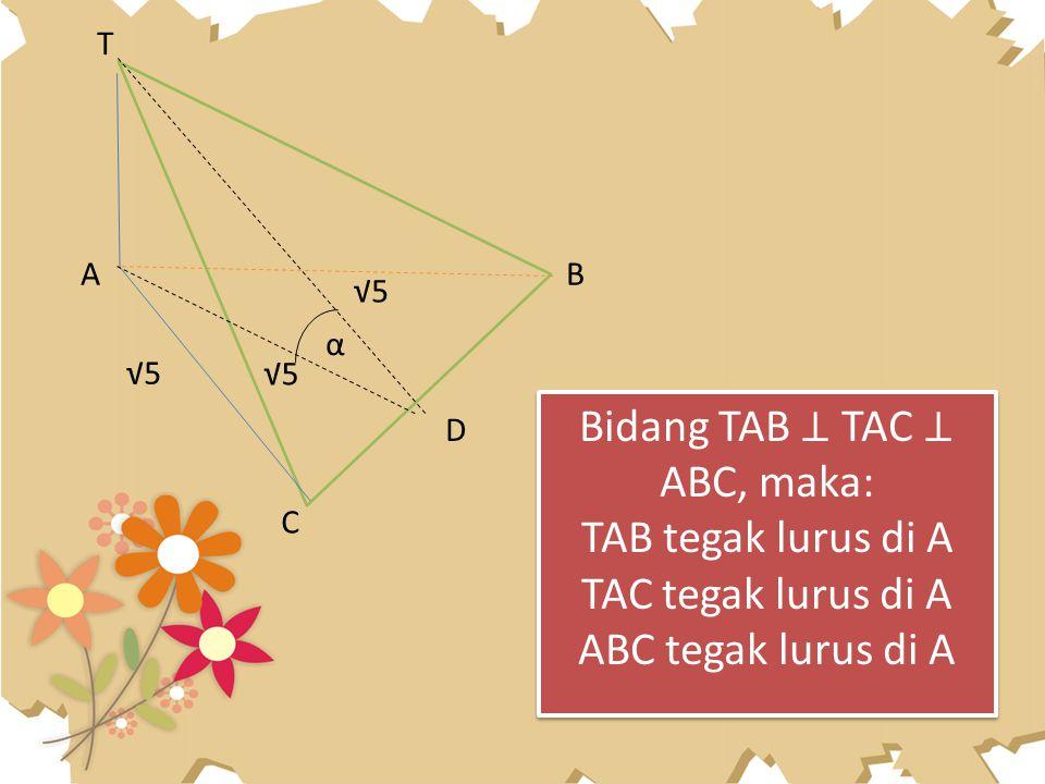 T A C D B α √5 Bidang TAB ⊥ TAC ⊥ ABC, maka: TAB tegak lurus di A TAC tegak lurus di A ABC tegak lurus di A Bidang TAB ⊥ TAC ⊥ ABC, maka: TAB tegak lu