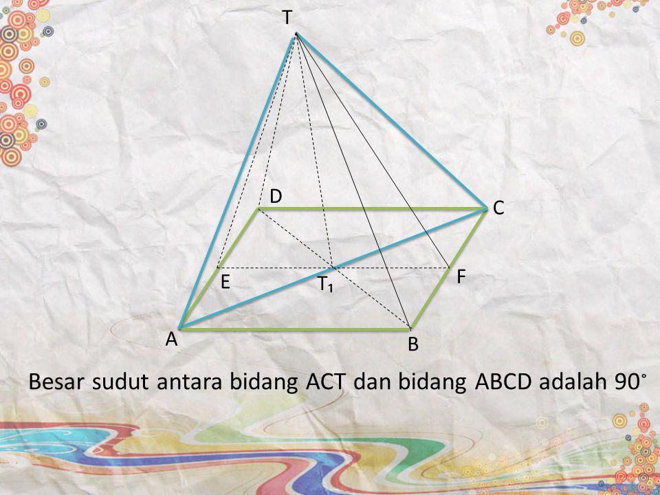 Besar sudut antara bidang ACT dan bidang ABCD adalah 90 ˚ A B E T C D F T₁