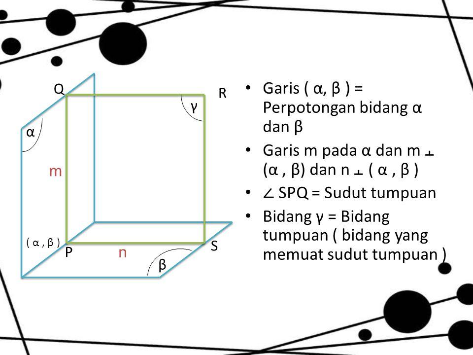 Garis ( α, β ) = Perpotongan bidang α dan β Garis m pada α dan m ﬩ (α, β) dan n ﬩ ( α, β ) ∠ SPQ = Sudut tumpuan Bidang γ = Bidang tumpuan ( bidang ya