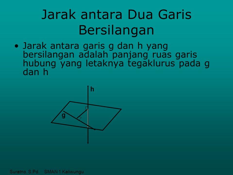 Suratno, S.Pd. SMAN 1 Kaliwungu Jarak antara Dua Garis Bersilangan Jarak antara garis g dan h yang bersilangan adalah panjang ruas garis hubung yang l