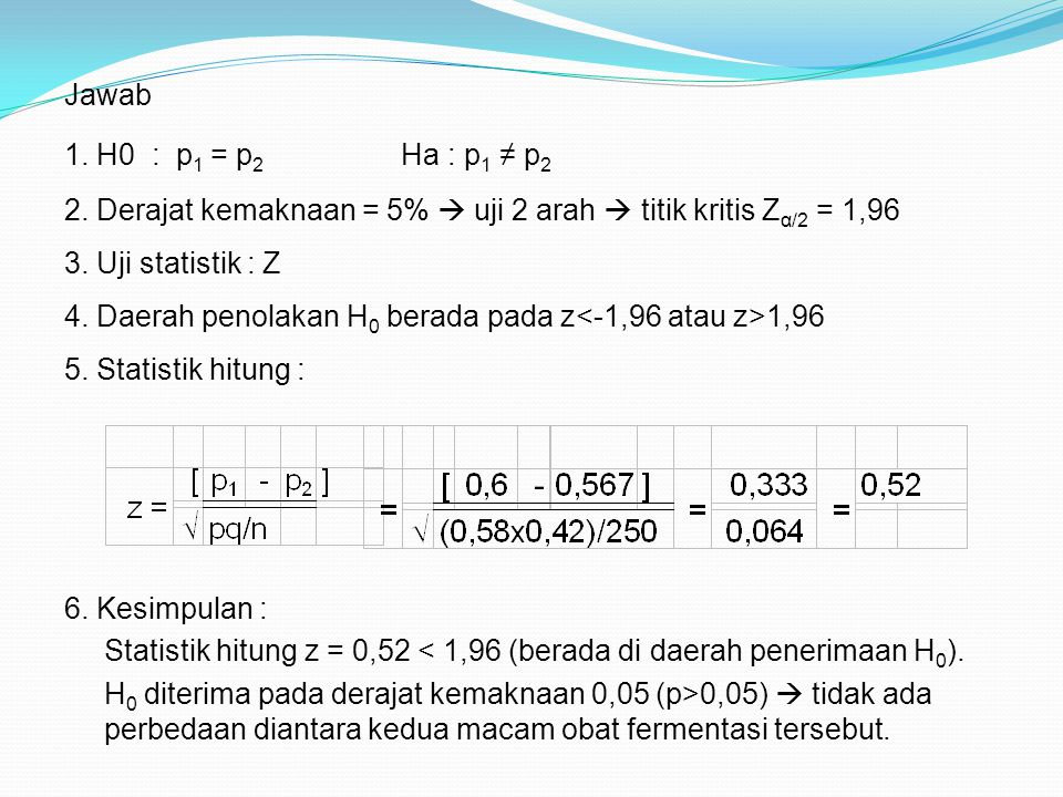 Jawab 1. H0 : p 1 = p 2 Ha : p 1 ≠ p 2 2. Derajat kemaknaan = 5%  uji 2 arah  titik kritis Z α/2 = 1,96 3. Uji statistik : Z 5. Statistik hitung : 6