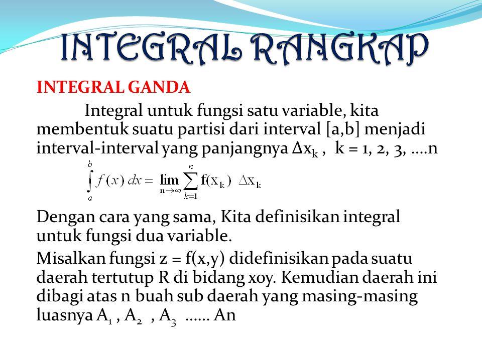 INTEGRAL GANDA Integral untuk fungsi satu variable, kita membentuk suatu partisi dari interval [a,b] menjadi interval-interval yang panjangnya Δx k, k = 1, 2, 3, ….n Dengan cara yang sama, Kita definisikan integral untuk fungsi dua variable.