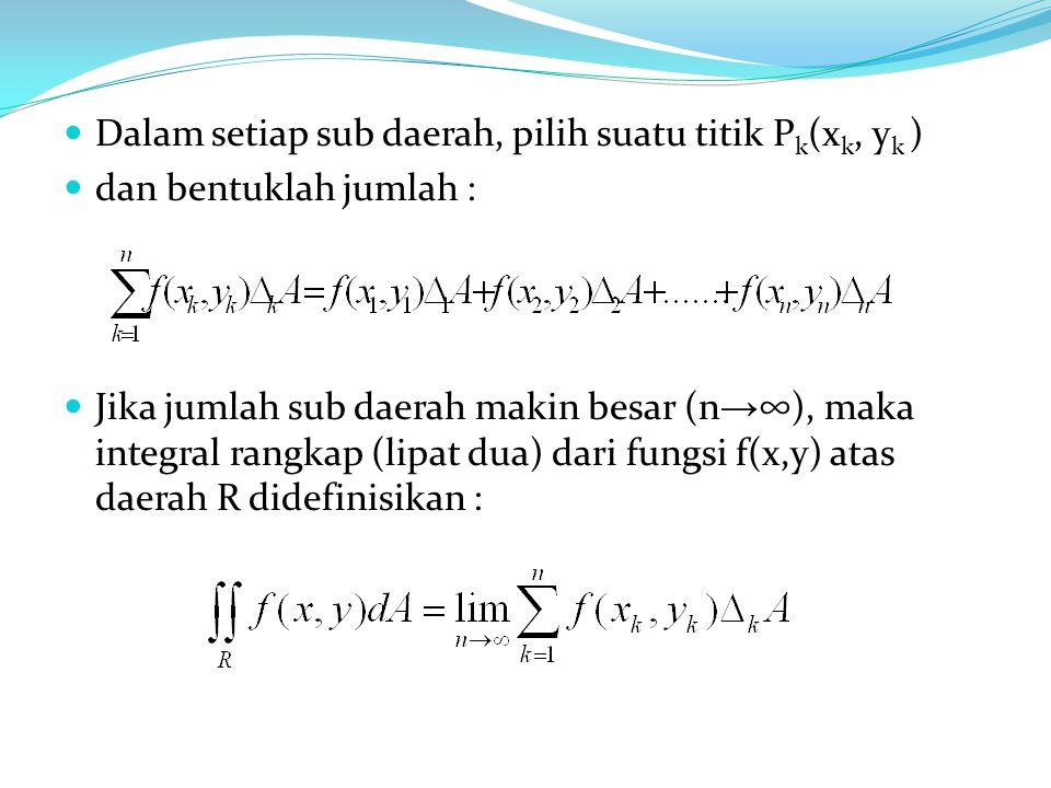 Dalam setiap sub daerah, pilih suatu titik P k (x k, y k ) dan bentuklah jumlah : Jika jumlah sub daerah makin besar (n → ∞), maka integral rangkap (l