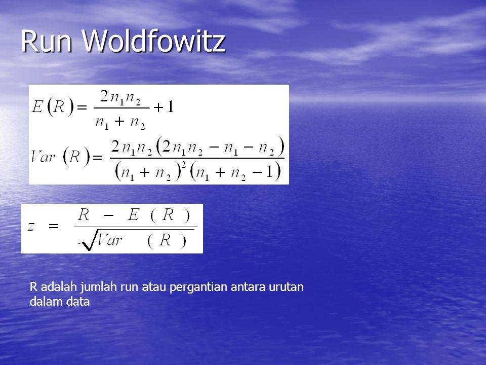 Run Woldfowitz R adalah jumlah run atau pergantian antara urutan dalam data
