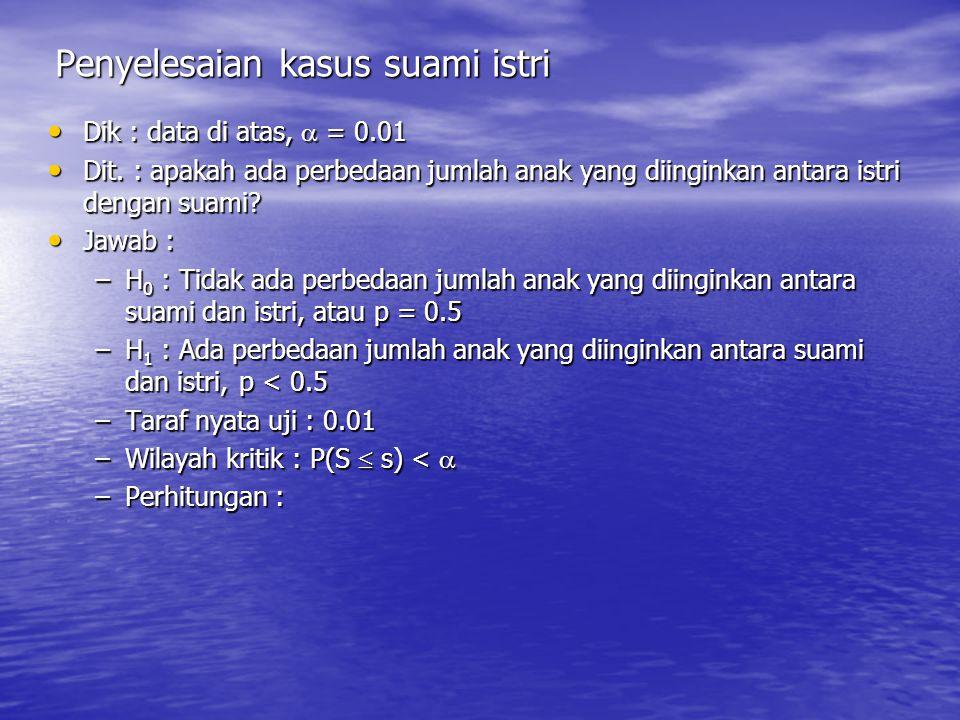 Penyelesaian kasus suami istri Dik : data di atas,  = 0.01 Dik : data di atas,  = 0.01 Dit.