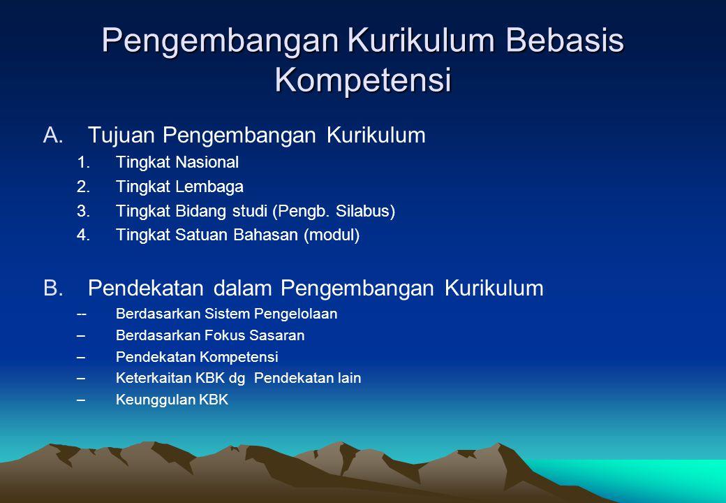 Pengembangan Kurikulum Bebasis Kompetensi A.Tujuan Pengembangan Kurikulum 1.Tingkat Nasional 2.Tingkat Lembaga 3.Tingkat Bidang studi (Pengb. Silabus)