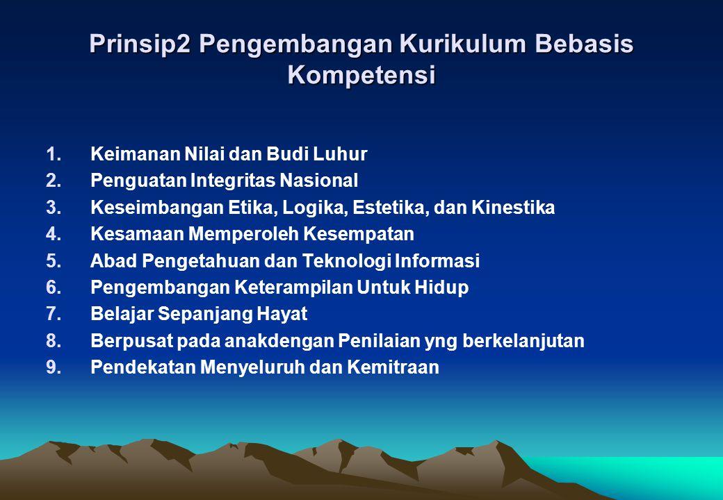 Prinsip2 Pengembangan Kurikulum Bebasis Kompetensi 1.Keimanan Nilai dan Budi Luhur 2.Penguatan Integritas Nasional 3.Keseimbangan Etika, Logika, Estet
