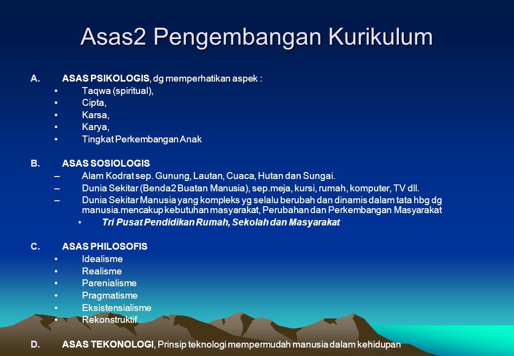 Asas2 Pengembangan Kurikulum A.ASAS PSIKOLOGIS, dg memperhatikan aspek : Taqwa (spiritual), Cipta, Karsa, Karya, Tingkat Perkembangan Anak B.ASAS SOSI