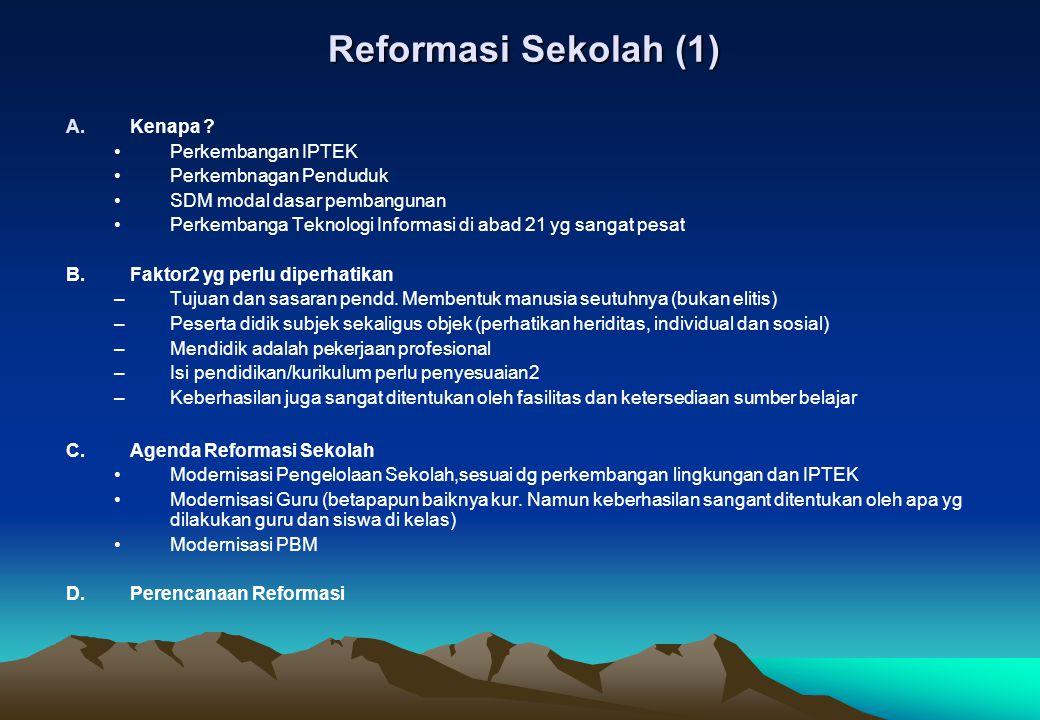 Reformasi Sekolah (1) A.Kenapa ? Perkembangan IPTEK Perkembnagan Penduduk SDM modal dasar pembangunan Perkembanga Teknologi Informasi di abad 21 yg sa