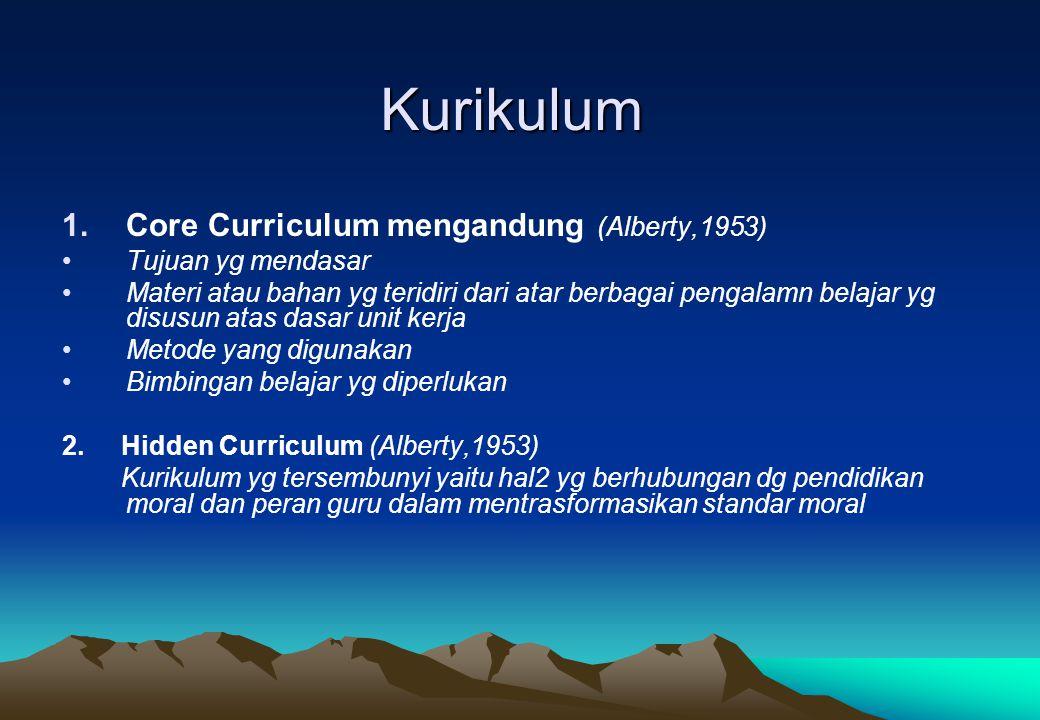 Kurikulum 1.Core Curriculum mengandung (Alberty,1953) Tujuan yg mendasar Materi atau bahan yg teridiri dari atar berbagai pengalamn belajar yg disusun