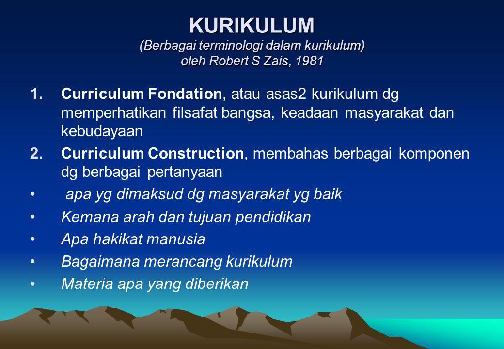 KURIKULUM (Berbagai terminologi dalam kurikulum) oleh Robert S Zais, 1981 1.Curriculum Fondation, atau asas2 kurikulum dg memperhatikan filsafat bangs