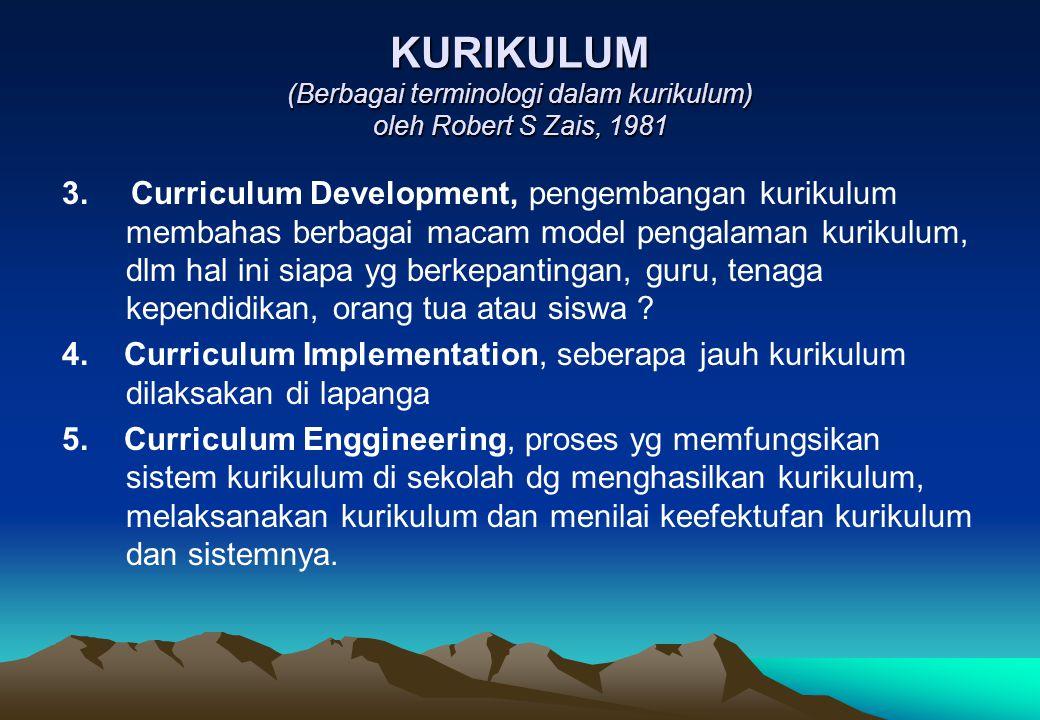 KURIKULUM (Berbagai terminologi dalam kurikulum) oleh Robert S Zais, 1981 3. Curriculum Development, pengembangan kurikulum membahas berbagai macam mo