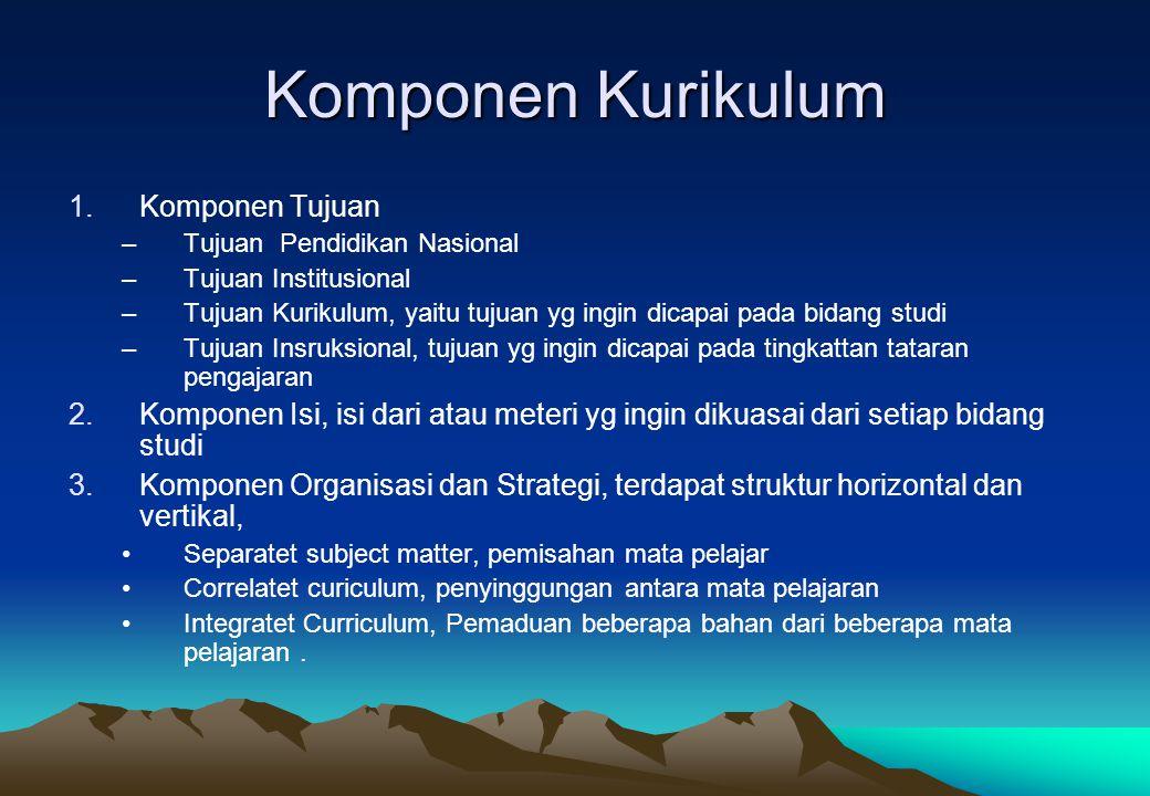 Komponen Kurikulum 1.Komponen Tujuan –Tujuan Pendidikan Nasional –Tujuan Institusional –Tujuan Kurikulum, yaitu tujuan yg ingin dicapai pada bidang st