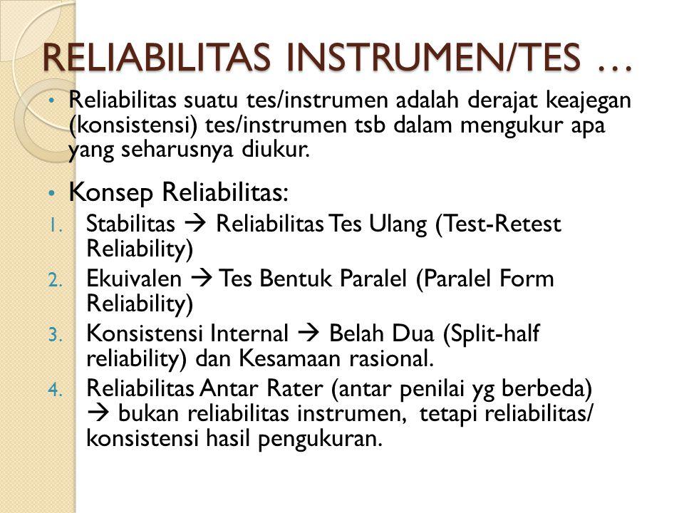 RELIABILITAS INSTRUMEN/TES … Reliabilitas suatu tes/instrumen adalah derajat keajegan (konsistensi) tes/instrumen tsb dalam mengukur apa yang seharusnya diukur.