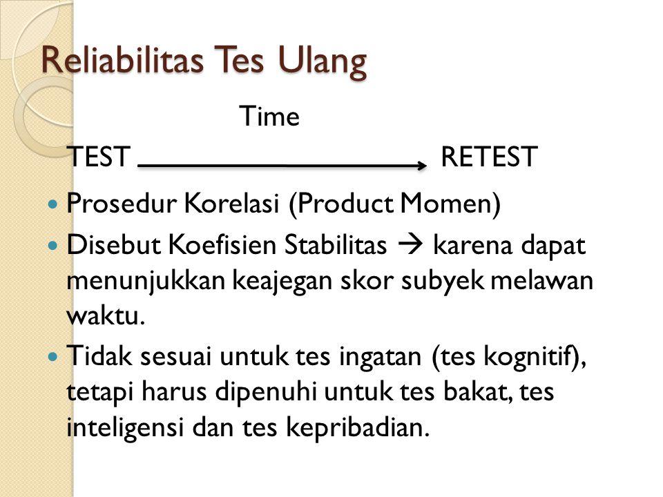Reliabilitas Tes Ulang Time TEST RETEST Prosedur Korelasi (Product Momen) Disebut Koefisien Stabilitas  karena dapat menunjukkan keajegan skor subyek melawan waktu.