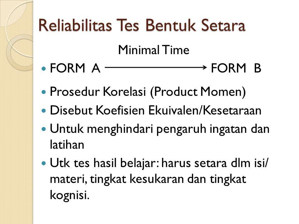 Reliabilitas Tes Bentuk Setara Minimal Time FORM A FORM B Prosedur Korelasi (Product Momen) Disebut Koefisien Ekuivalen/Kesetaraan Untuk menghindari pengaruh ingatan dan latihan Utk tes hasil belajar: harus setara dlm isi/ materi, tingkat kesukaran dan tingkat kognisi.