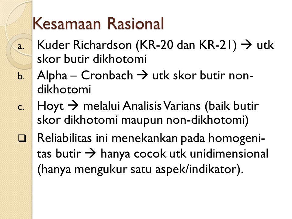 Kesamaan Rasional a.Kuder Richardson (KR-20 dan KR-21)  utk skor butir dikhotomi b.