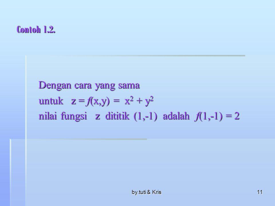 by.tuti & Kris10 Contoh. 1.1  Fungsi f didefinisikan : z = f(x,y) =.  nilai fungsi f, di titik(2,1) adalah f (2,1) = yang diperoleh dengan mensubtit
