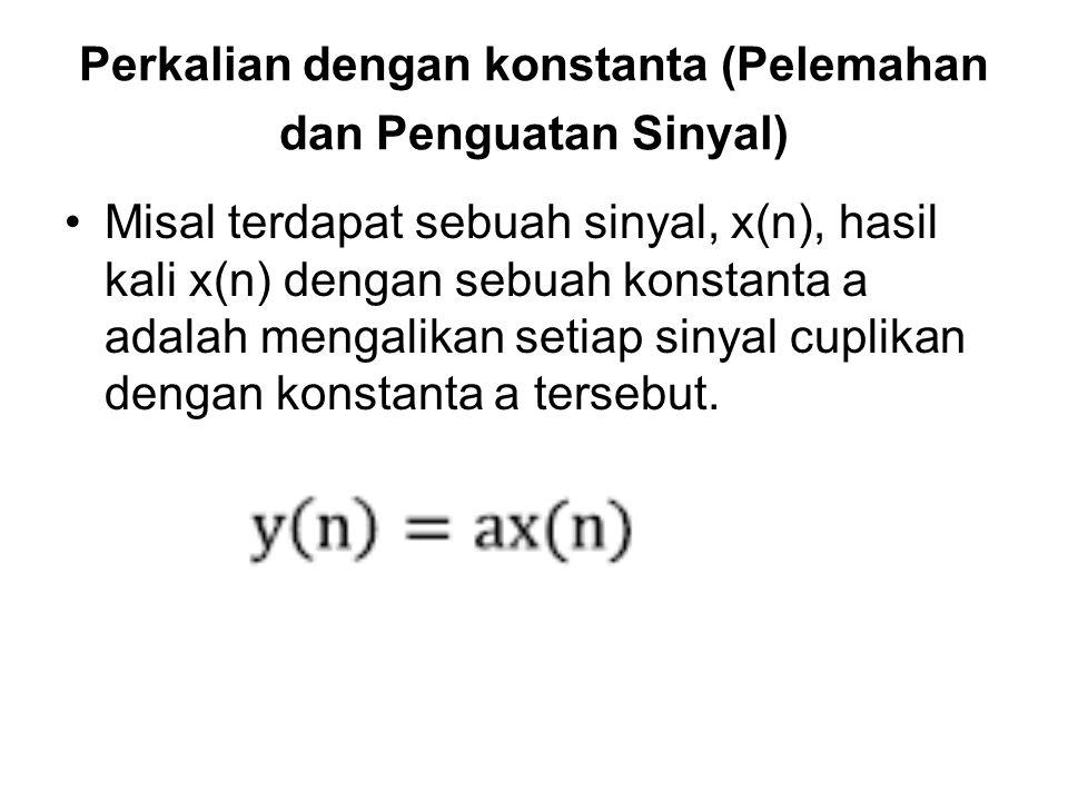 Perkalian dengan konstanta (Pelemahan dan Penguatan Sinyal) Misal terdapat sebuah sinyal, x(n), hasil kali x(n) dengan sebuah konstanta a adalah menga