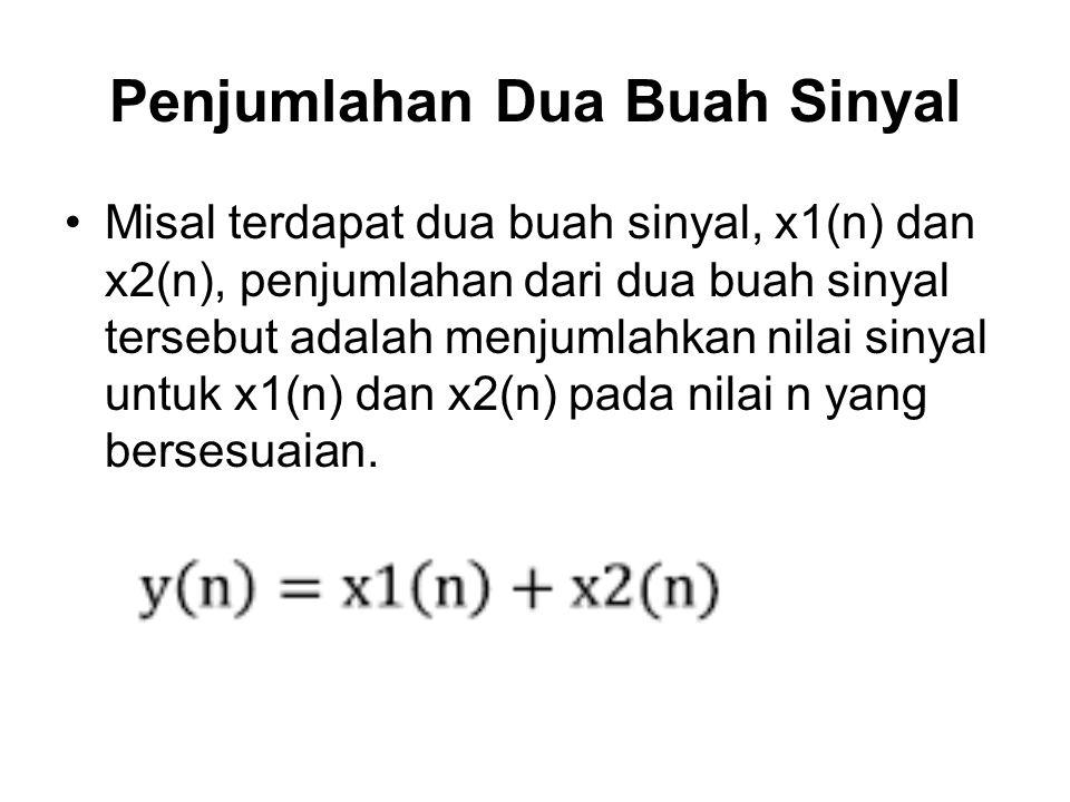 Penjumlahan Dua Buah Sinyal Misal terdapat dua buah sinyal, x1(n) dan x2(n), penjumlahan dari dua buah sinyal tersebut adalah menjumlahkan nilai sinya