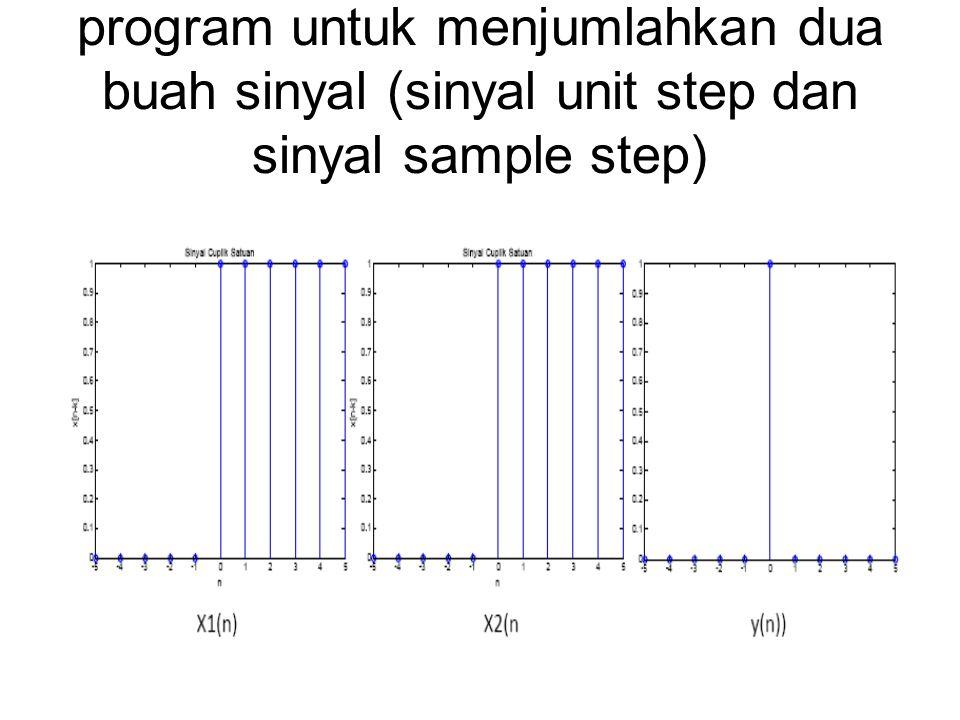 program untuk menjumlahkan dua buah sinyal (sinyal unit step dan sinyal sample step)