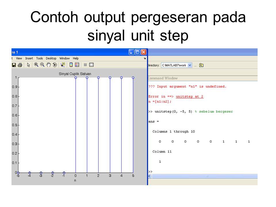 Contoh output pergeseran pada sinyal unit step