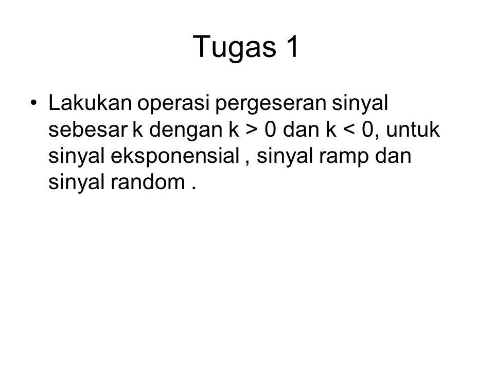 Tugas 1 Lakukan operasi pergeseran sinyal sebesar k dengan k > 0 dan k < 0, untuk sinyal eksponensial, sinyal ramp dan sinyal random.