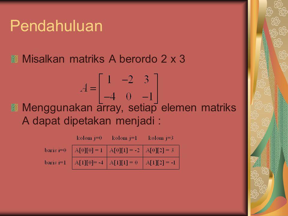 Konstruksi Tipe Data Matriks C style #define baris 2 #define kolom 2 int matriks[baris][kolom]; C++ style class Matriks { private : int baris, kolom; int A[baris][kolom]; };