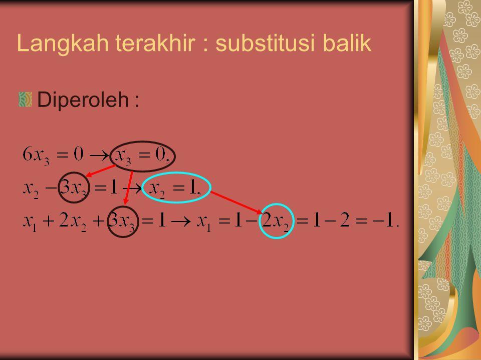 Langkah terakhir : substitusi balik Diperoleh :