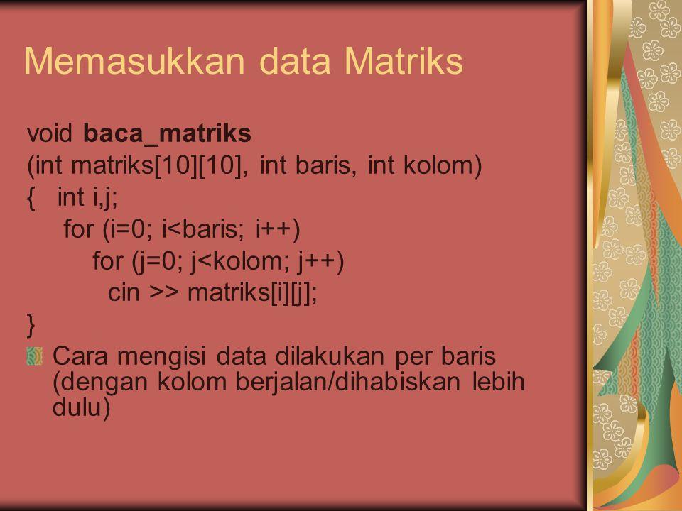 Memasukkan data Matriks void baca_matriks (int matriks[10][10], int baris, int kolom) { int i,j; for (i=0; i<baris; i++) for (j=0; j<kolom; j++) cin >