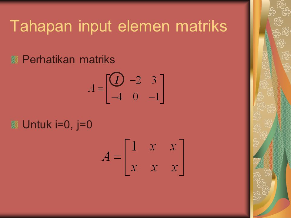 Contoh : Untuk m = 2, p = 3, dan n = 1 A 2x3, B 3x1, C 2x1 c 11 diperoleh dari C 11 = a 11 *b 11 +a 12 *b 21 +a 13 *b 31