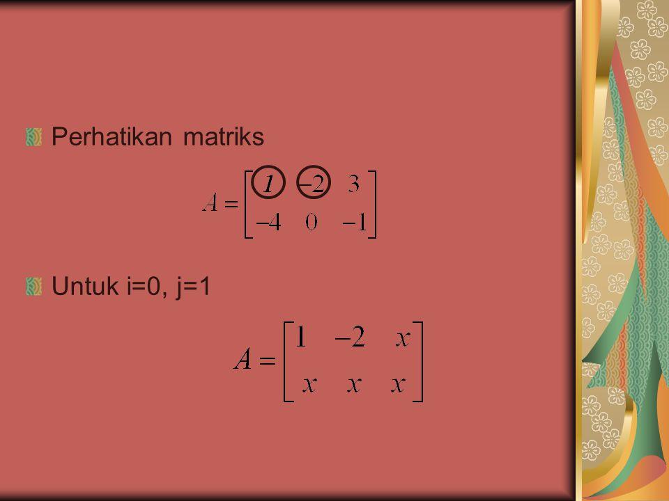 Bila : i berjalan dari 1 sampai m (banyak baris) k berjalan dari 1 sampai p (banyak elemen perkalian dalam) j berjalan dari 1 sampai n (banyak kolom) Maka diperoleh 3 loop : for i  1 to baris do for j  1 to kolom do mat_kali[i,j]  0 for k  1 to barkol do mat_kali[i,j] menyatakan matriks hasil pada elemen ke(i,j).