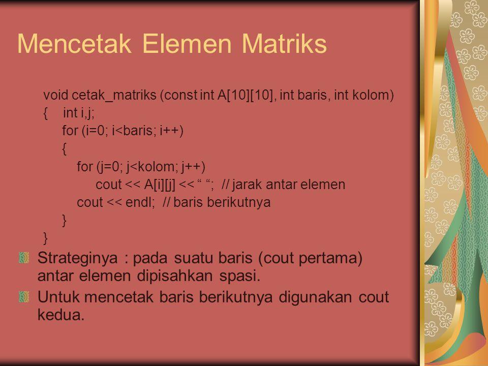 Tugas : Diberikan suatu matriks berordo n.