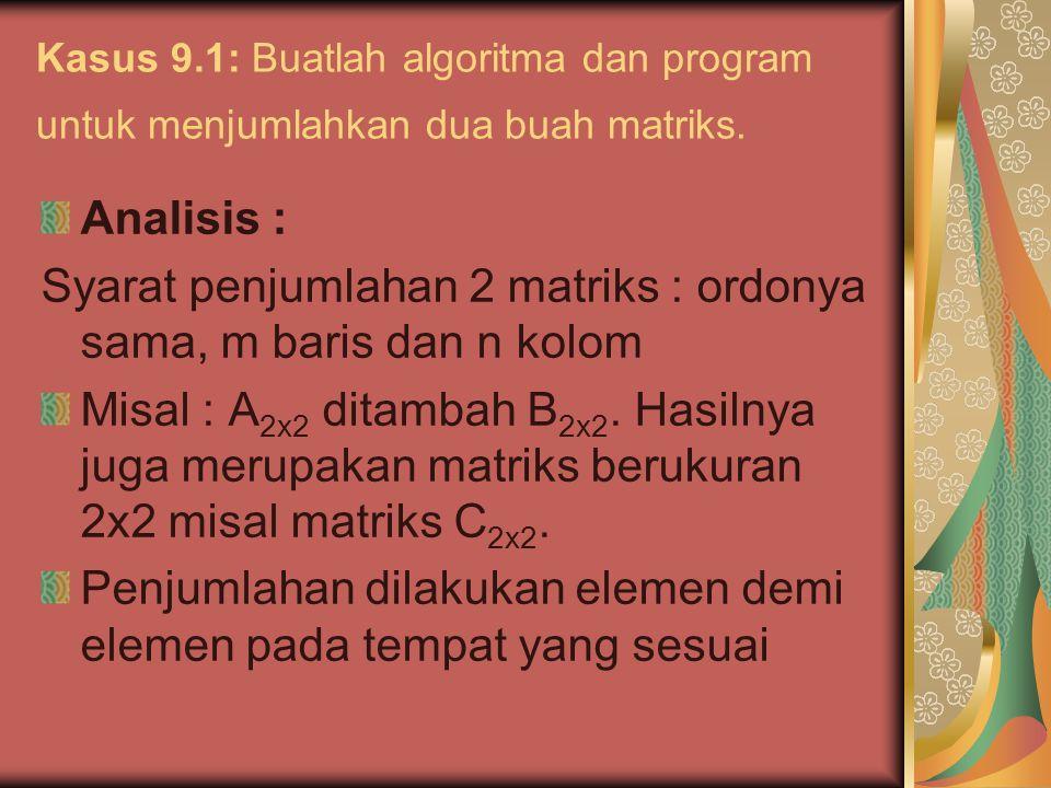 Kasus 9.1: Buatlah algoritma dan program untuk menjumlahkan dua buah matriks. Analisis : Syarat penjumlahan 2 matriks : ordonya sama, m baris dan n ko