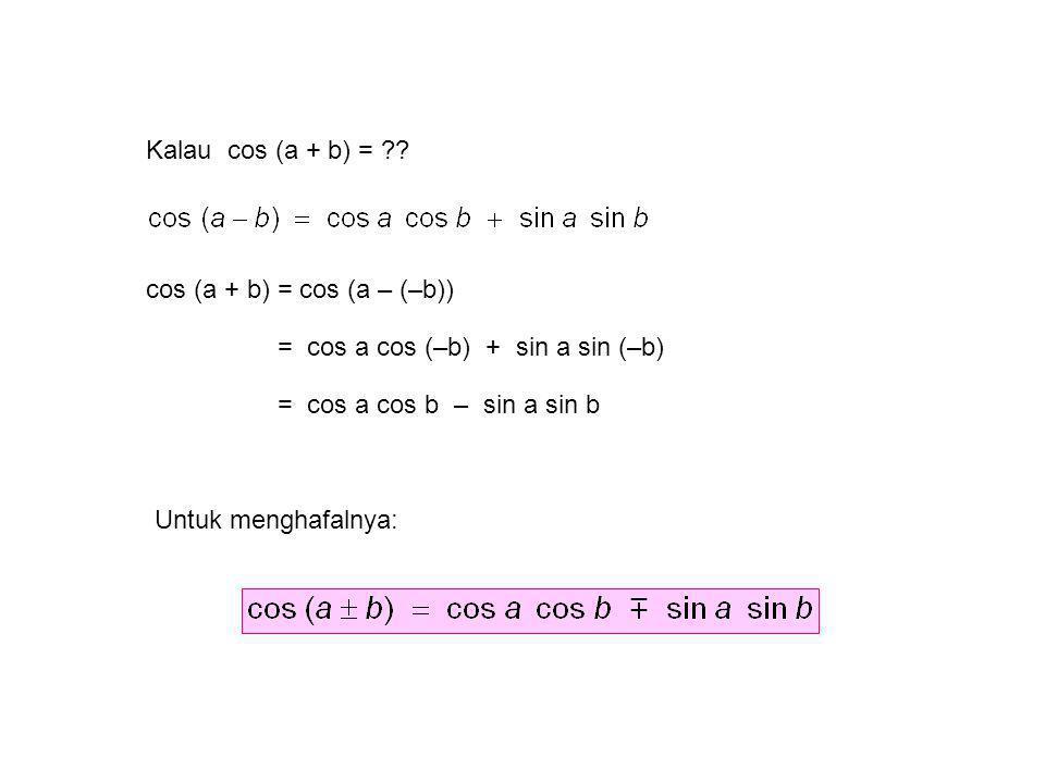 Kalau cos (a + b) = ?? cos (a + b) = cos (a – (–b)) = cos a cos (–b) + sin a sin (–b) = cos a cos b – sin a sin b Untuk menghafalnya: