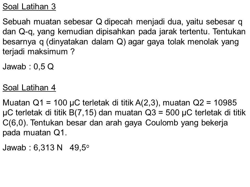 Soal Latihan 3 Sebuah muatan sebesar Q dipecah menjadi dua, yaitu sebesar q dan Q-q, yang kemudian dipisahkan pada jarak tertentu. Tentukan besarnya q