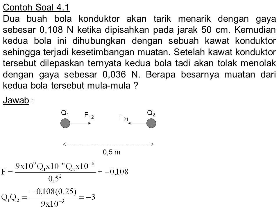 Contoh Soal 4.1 Dua buah bola konduktor akan tarik menarik dengan gaya sebesar 0,108 N ketika dipisahkan pada jarak 50 cm. Kemudian kedua bola ini dih