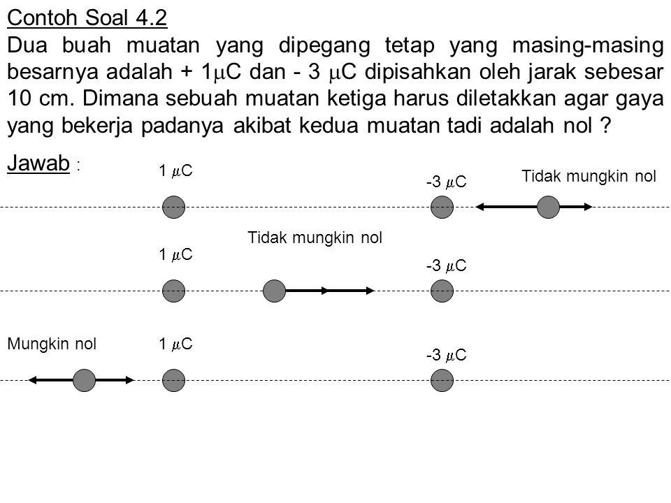 Contoh Soal 4.2 Dua buah muatan yang dipegang tetap yang masing-masing besarnya adalah + 1  C dan - 3  C dipisahkan oleh jarak sebesar 10 cm. Dimana