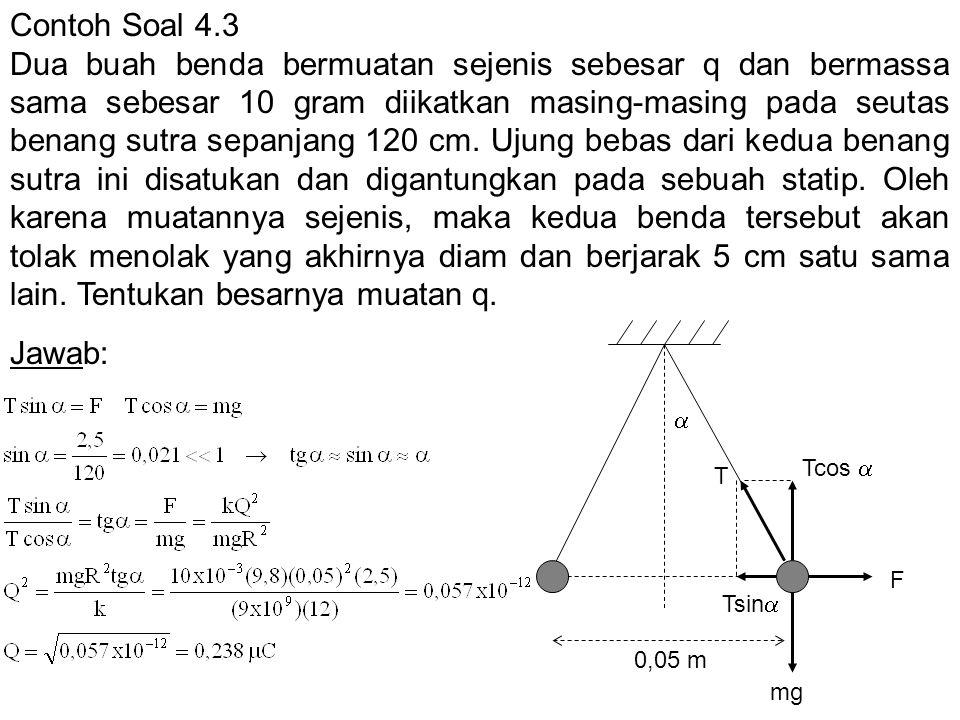 Contoh Soal 4.3 Dua buah benda bermuatan sejenis sebesar q dan bermassa sama sebesar 10 gram diikatkan masing-masing pada seutas benang sutra sepanjan