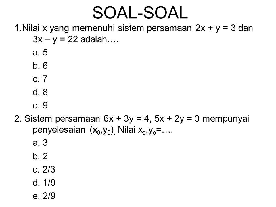 SOAL-SOAL 1.Nilai x yang memenuhi sistem persamaan 2x + y = 3 dan 3x – y = 22 adalah…. a. 5 b. 6 c. 7 d. 8 e. 9 2. Sistem persamaan 6x + 3y = 4, 5x +