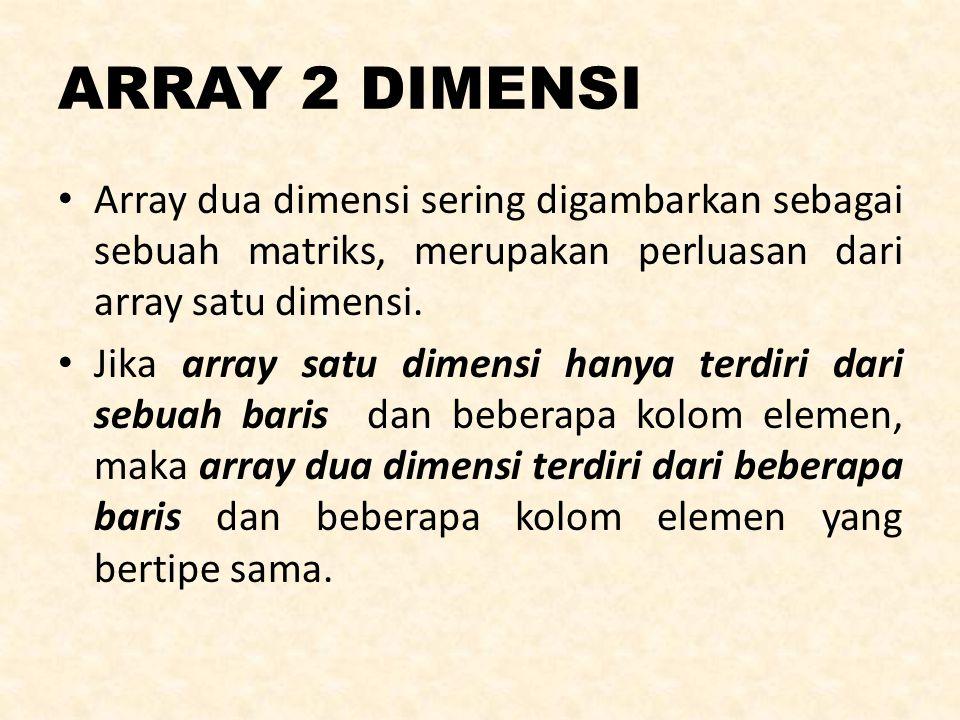 ARRAY 2 DIMENSI Array dua dimensi sering digambarkan sebagai sebuah matriks, merupakan perluasan dari array satu dimensi. Jika array satu dimensi hany