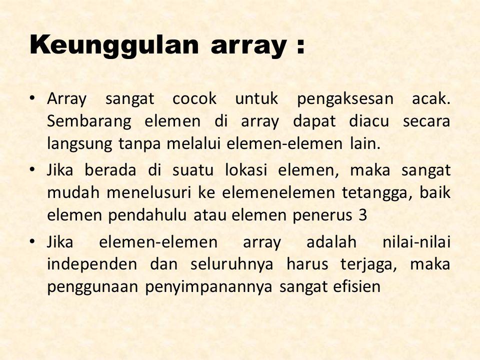 Kelemahan array : Array harus bertipe homogen.