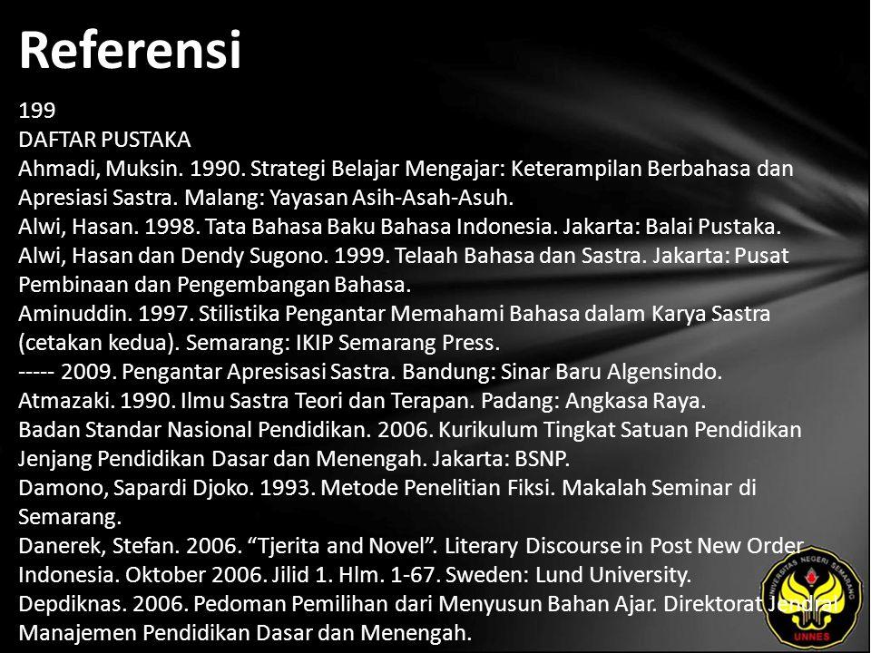 Referensi 199 DAFTAR PUSTAKA Ahmadi, Muksin.1990.