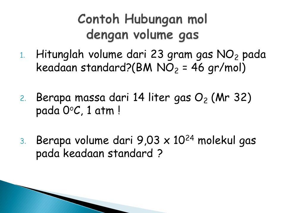 1. Hitunglah volume dari 23 gram gas NO 2 pada keadaan standard?(BM NO 2 = 46 gr/mol) 2. Berapa massa dari 14 liter gas O 2 (Mr 32) pada 0 o C, 1 atm