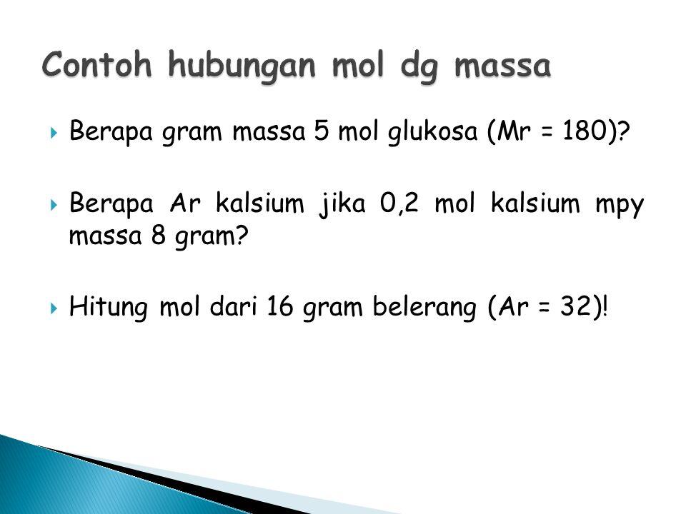  Gram = mol x Mr Massa glukosa = 5 mol x 180 gr/mol = 900 gram  Ar kalsium = gram : mol = 8 : 0,2 = 40 gr/mol  Mol belerang = 16 gr : 32 gr/mol = 0,5 mol