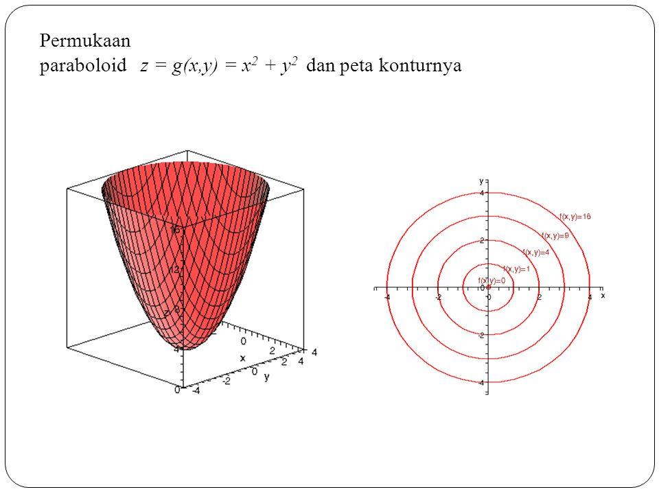 Permukaan paraboloid z = g(x,y) = x 2 + y 2 dan peta konturnya