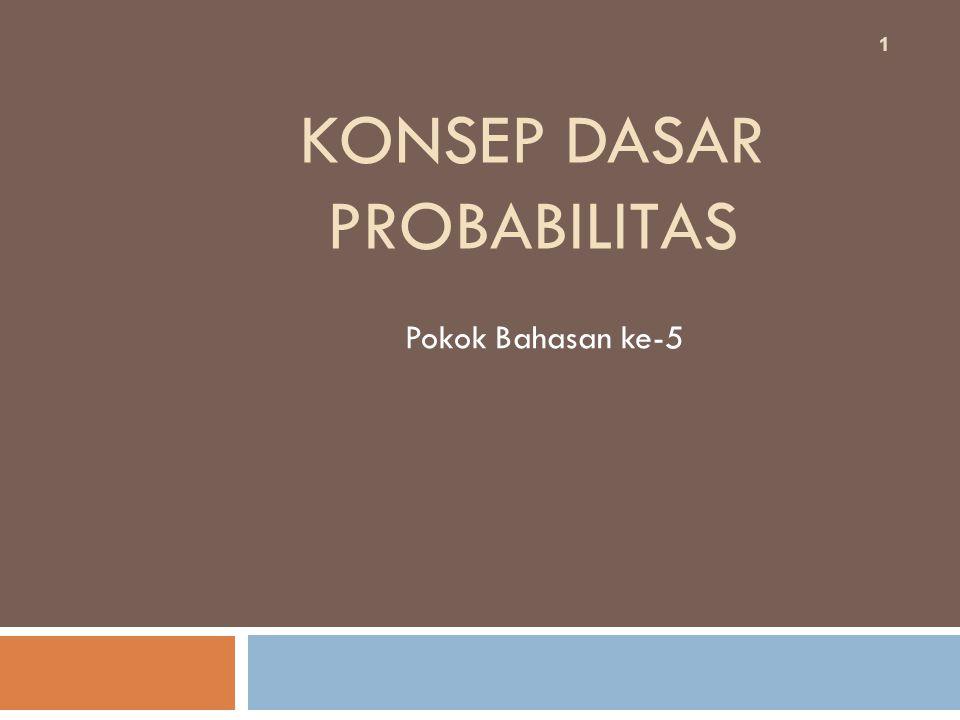 KONSEP DASAR PROBABILITAS Pokok Bahasan ke-5 1