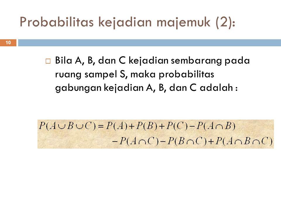 Probabilitas kejadian majemuk (2): 10  Bila A, B, dan C kejadian sembarang pada ruang sampel S, maka probabilitas gabungan kejadian A, B, dan C adala