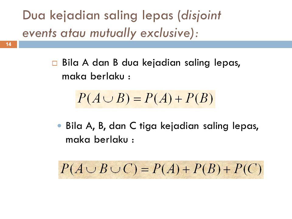 Dua kejadian saling lepas (disjoint events atau mutually exclusive):  Bila A dan B dua kejadian saling lepas, maka berlaku : 14 Bila A, B, dan C tiga